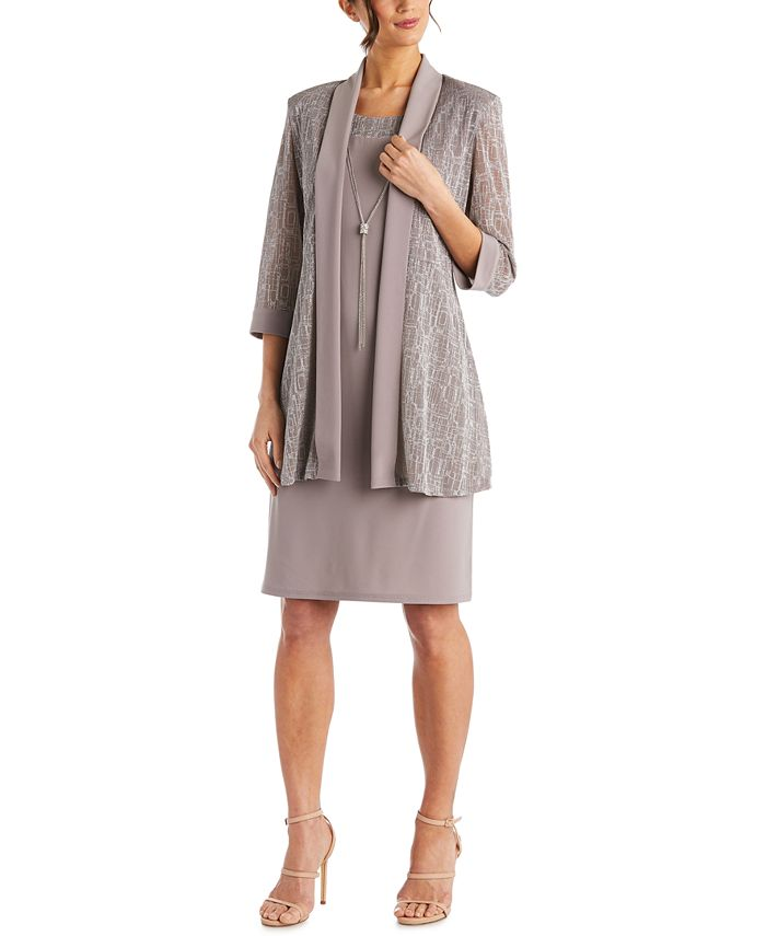 R & M Richards - Petite 2-Pc. Jacket & Necklace Dress Set