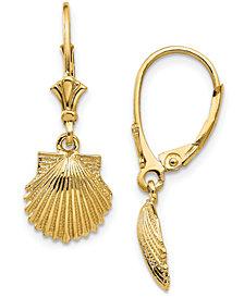 Shell Leverback Drop Earrings in 14k Yellow Gold