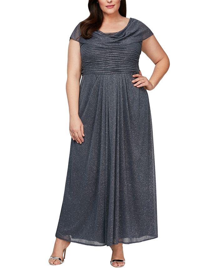 Alex Evenings - Plus Size Cowlneck Glitter Gown