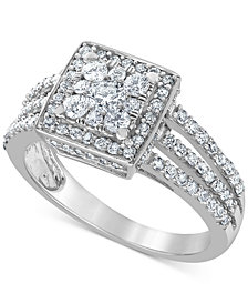 Diamond (1 ct. t.w.) Square Halo Cluster Engagement Ring in 14k White Gold