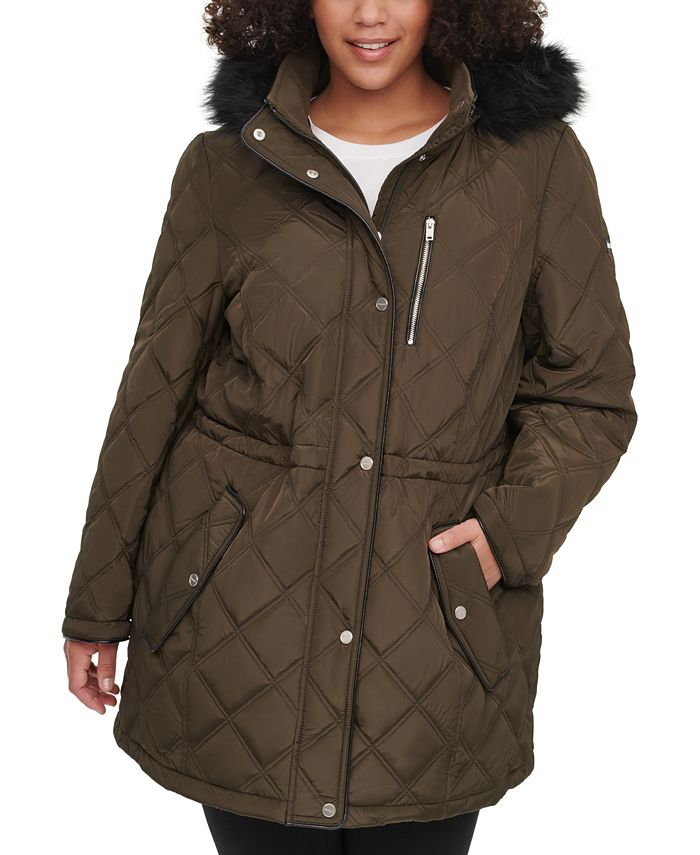 DKNY - Plus Size Faux-Fur-Trim Hooded Quilted Anorak