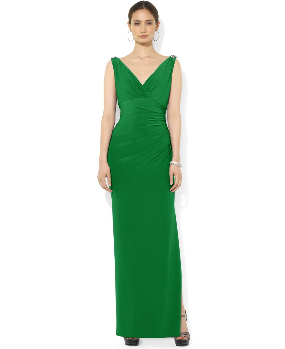 Lauren Ralph Lauren Petite Sleeveless Ruched Jersey Gown   Dresses   Women