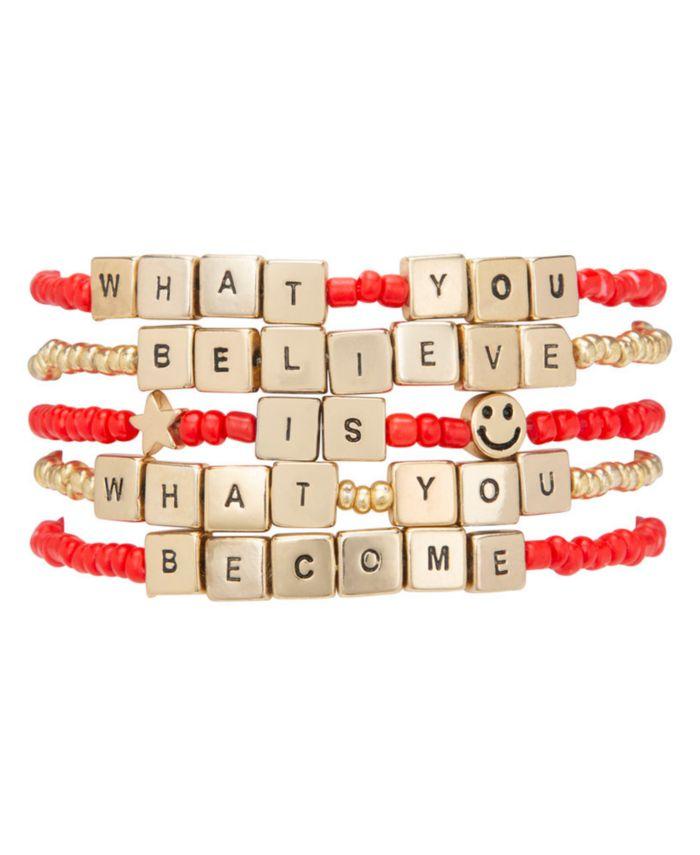 RACHEL Rachel Roy Gold-Tone 5-Pc. Set Believe & Become Beaded Stretch Bracelets & Reviews - Bracelets - Jewelry & Watches - Macy's