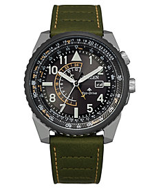 Citizen Eco-Drive Men's Promaster Green Leather Strap Watch 42mm