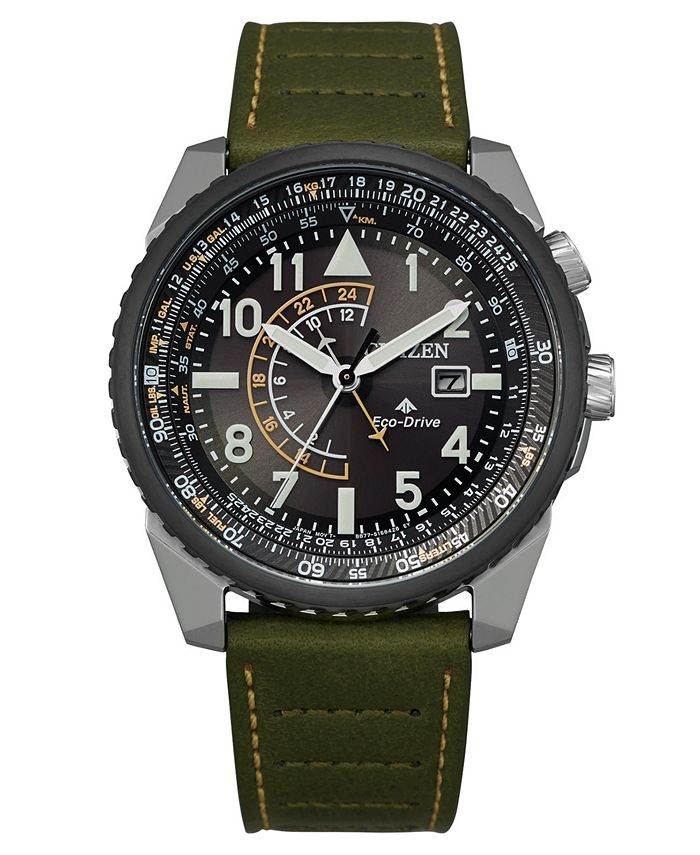 Citizen - Men's Promaster Green Leather Strap Watch 42mm