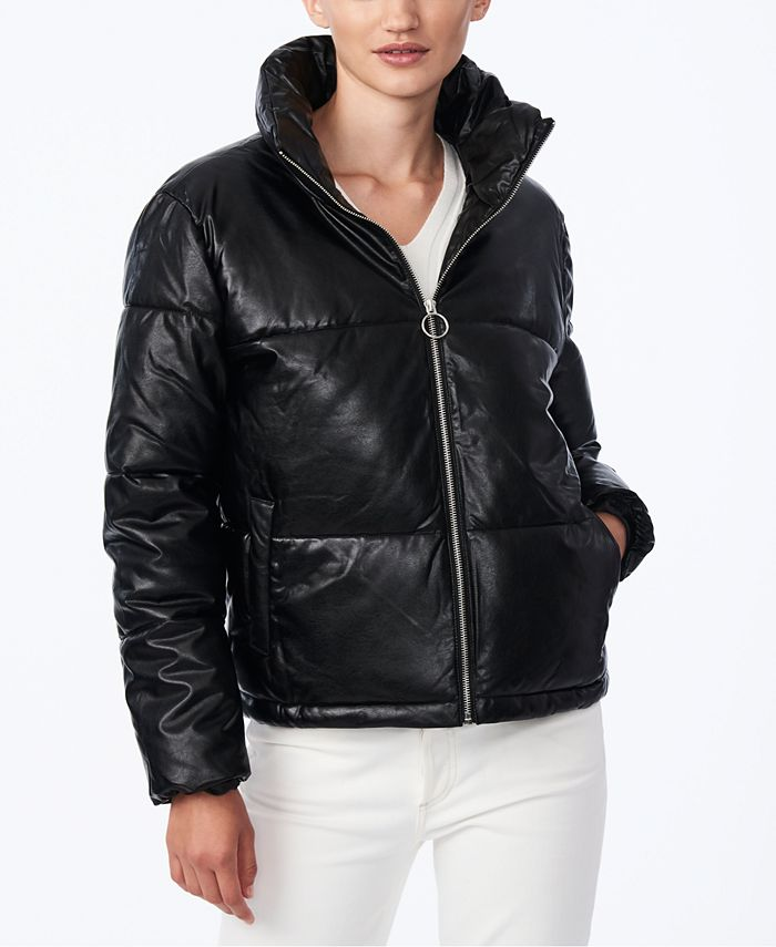 Collection B - Juniors' Faux-Leather Puffer Coat
