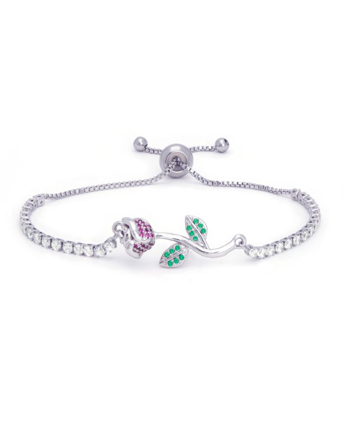 Macy's Fine Silver Plate Simulated Emerald And Ruby Rose Flower Adjustable Bolo Bracelet & Reviews - Bracelets - Jewelry & Watches - Macy's