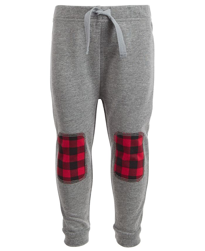 First Impressions - Baby Boys Buffalo Plaid Patch Jogger Pants