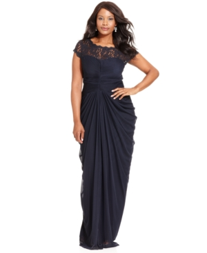 Adrianna Papell Plus Size Dress, Short-Sleeve Illusion Lace Pleat Gown