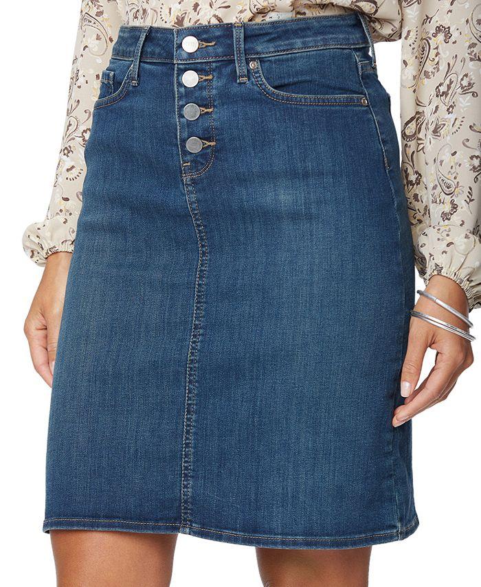 NYDJ - Button-Fly Denim Skirt