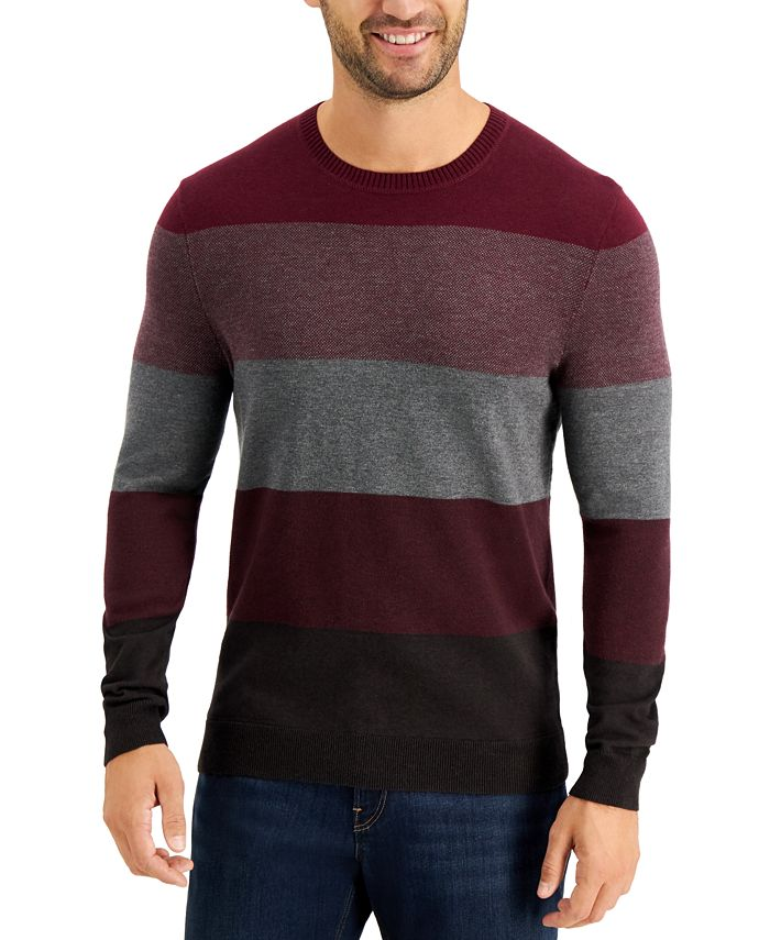Tasso Elba - Men's Color-Block Crewneck Sweater, Created for Macy's