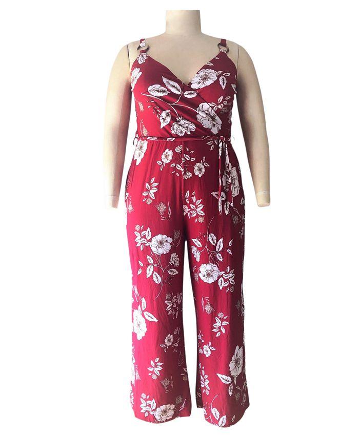 Derek Heart - Trendy Plus Size Floral-Print Surplice Jumpsuit