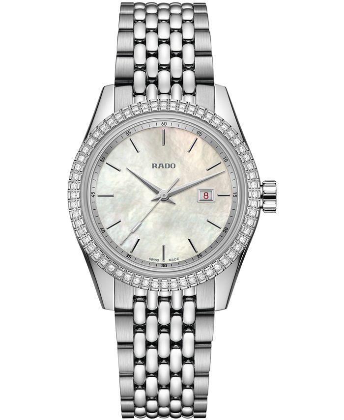 Rado - Women's Swiss HyperChrome Classic Diamond (1/3 ct. t.w.) Stainless Steel & Leather Watch Set 35mm