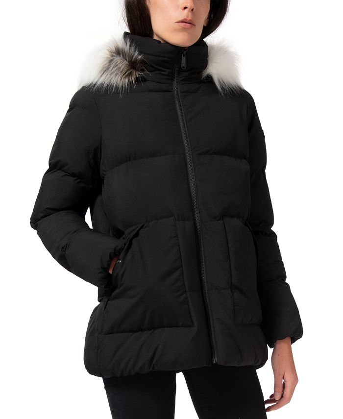 Sam Edelman - Faux-Fur-Trim Hooded Puffer Coat