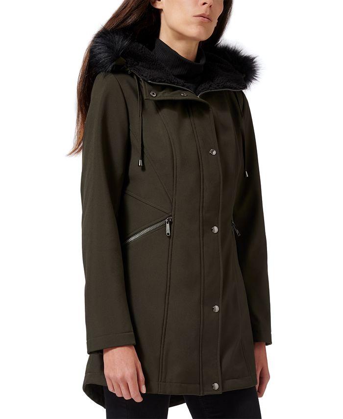 Sam Edelman - Faux-Fur-Trim Hooded Raincoat
