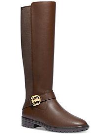 COACH Women's Farrah Wide-Calf Logo Buckle Riding Boots