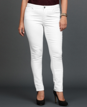 INC International Concepts Plus Size Jeans, Skinny, White Wash