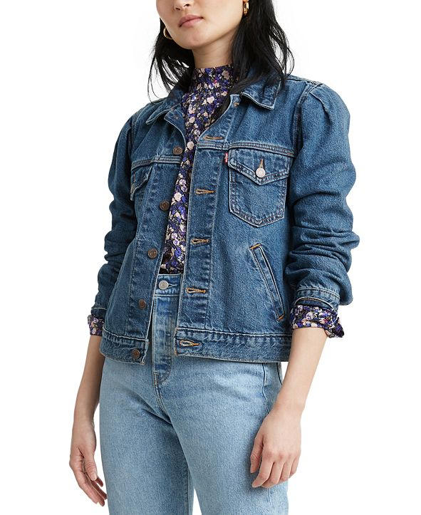 Levi's Cotton Puff-Sleeve Denim Trucker Jacket
