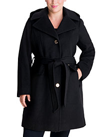 Michael Michael Kors Plus Size Belted Hooded Wrap Coat, Created for Macy's