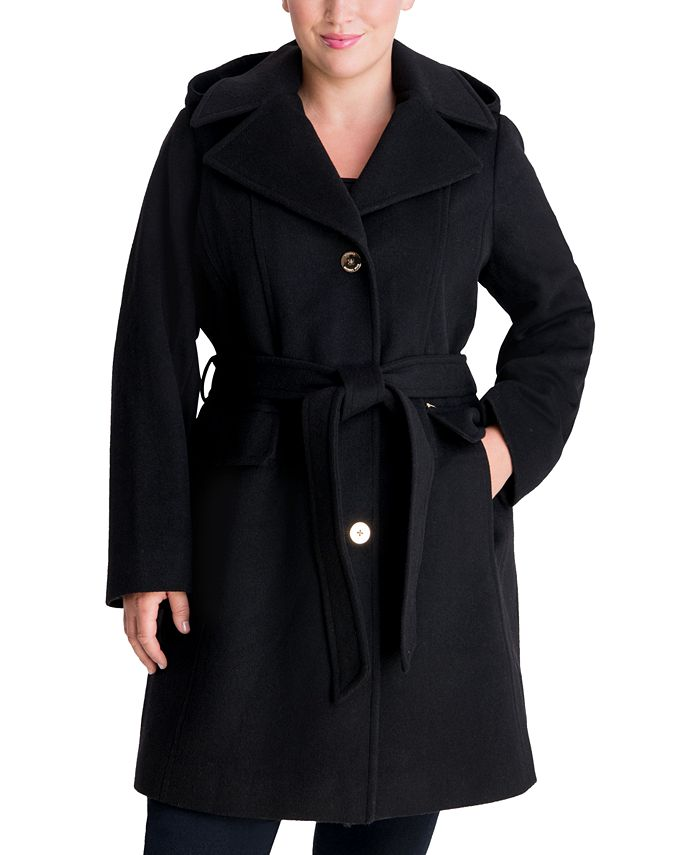 Michael Kors - Plus Size Belted Hooded Wrap Coat