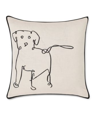 """20"""" L x 20"""" W Doodle Dog Embroidered Square Pillow"""