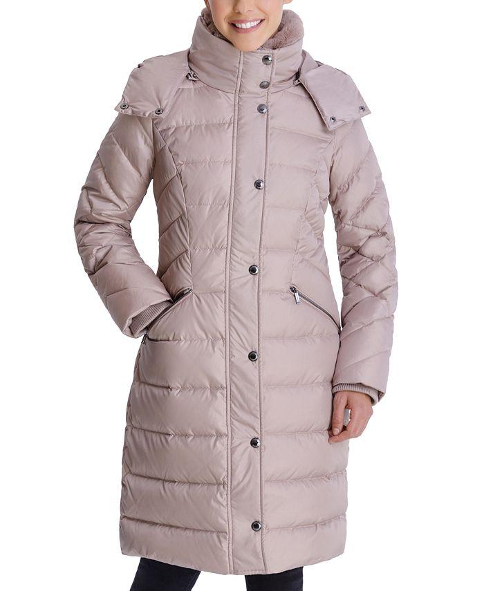 London Fog - Faux-Fur Collar Hooded Puffer Coat