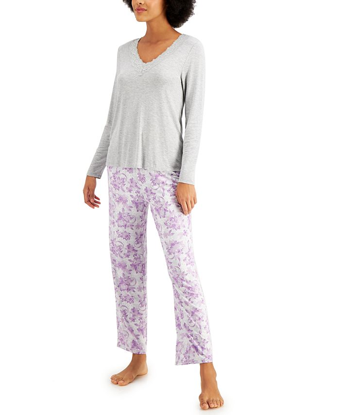 Charter Club - Lace-Trim Top & Printed Pants Pajamas Set