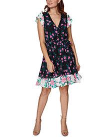 Betsey Johnson Mixed-Print Puff-Sleeve Dress