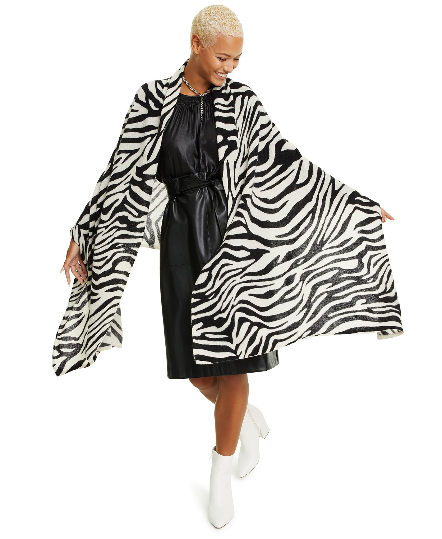 (70% OFF Deal) Charter Club Zebra-Print Cashmere Scarf $58.99