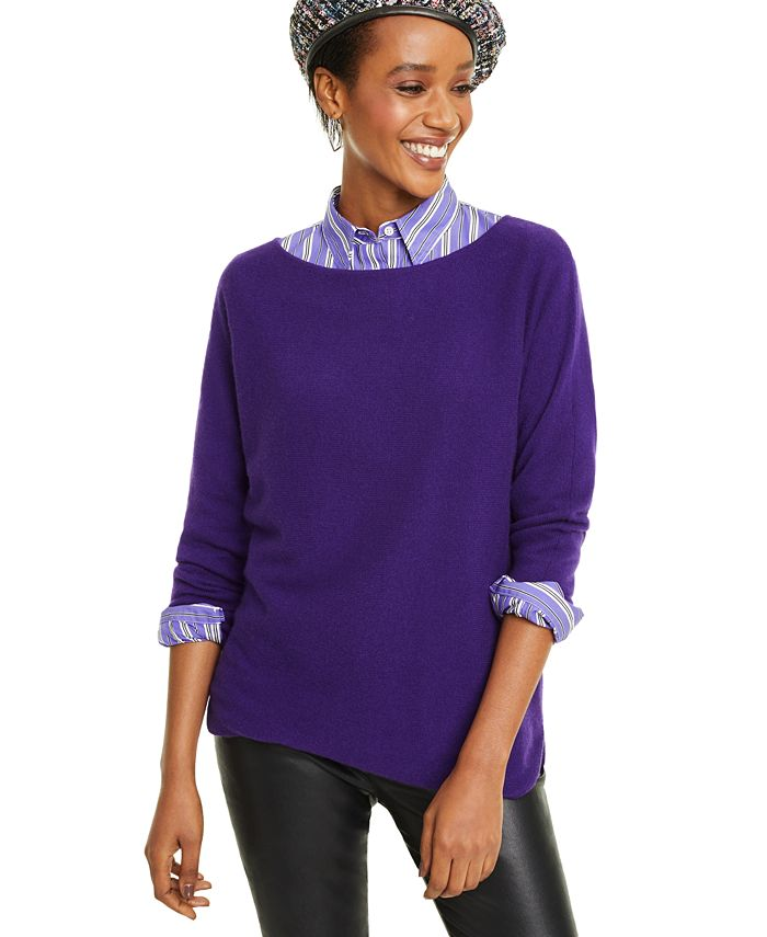Charter Club - Long-Sleeve Shirttail Sweater