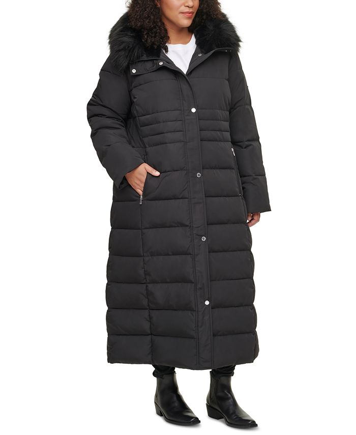 Calvin Klein - Plus Size Faux-Fur-Trim Hooded Maxi Puffer Coat