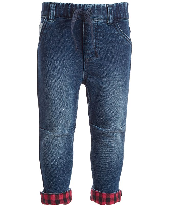 First Impressions Baby Boys Flannel Cuffed Jeans, Created for Macy's