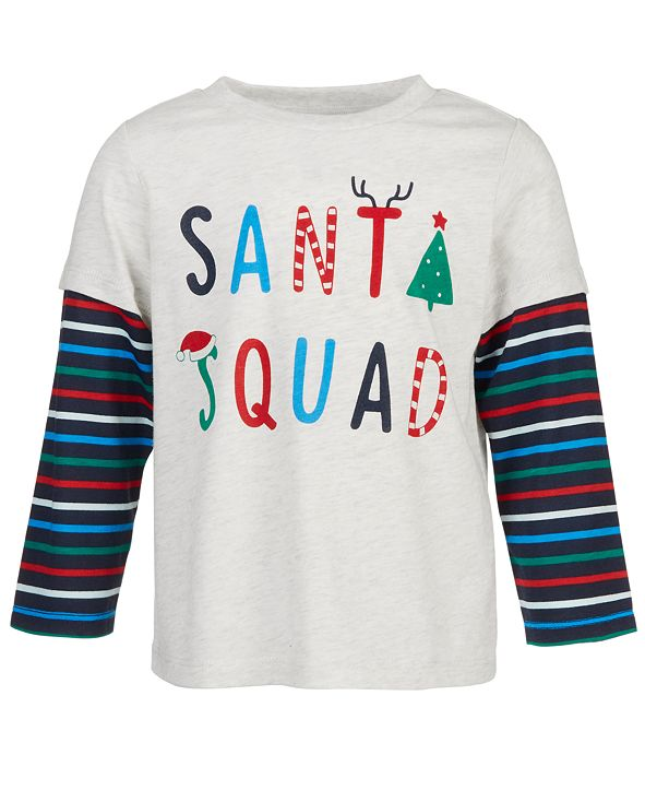 First Impressions Baby Boys Layered-Look Santa Squad T-Shirt, Created for Macy's