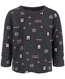First Impressions Baby Boys Long-Sleeve Winter-Print Shirt, Created for Macy's
