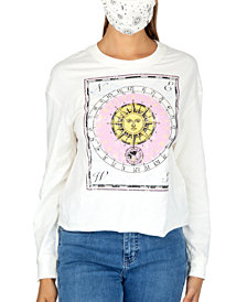 Rebellious One Juniors' Sun Graphic Top & Face Mask
