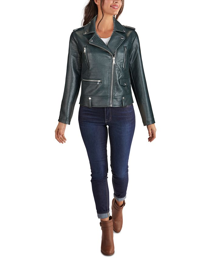 GUESS - Embossed-Croc Faux-Leather Moto Jacket
