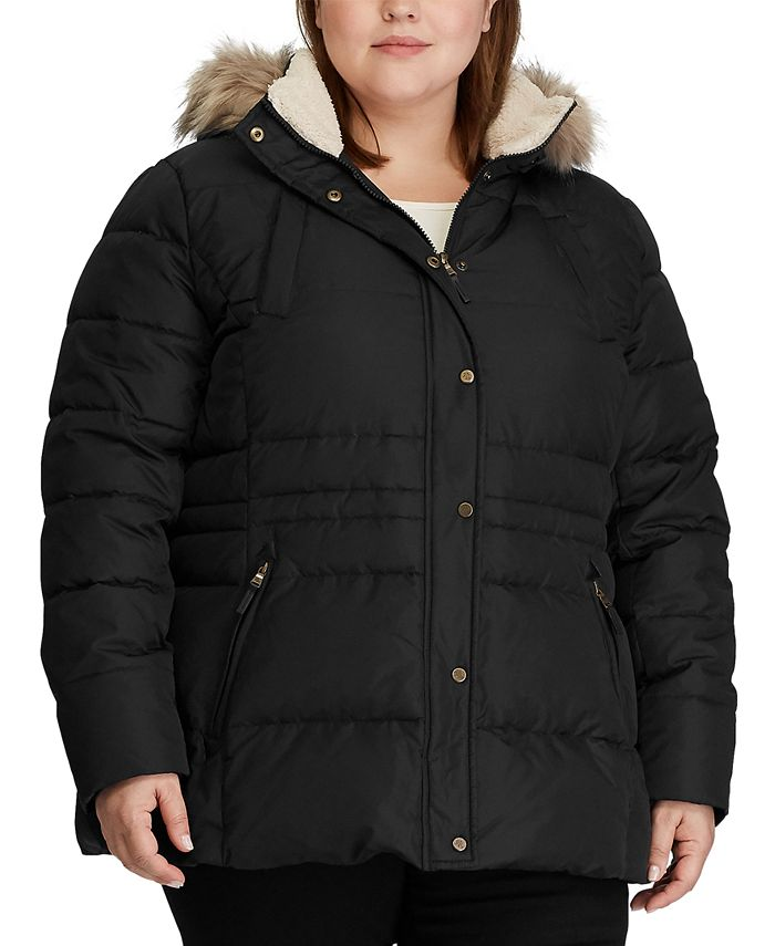 Lauren Ralph Lauren - Plus-Size Interior-Drawstring Down Coat