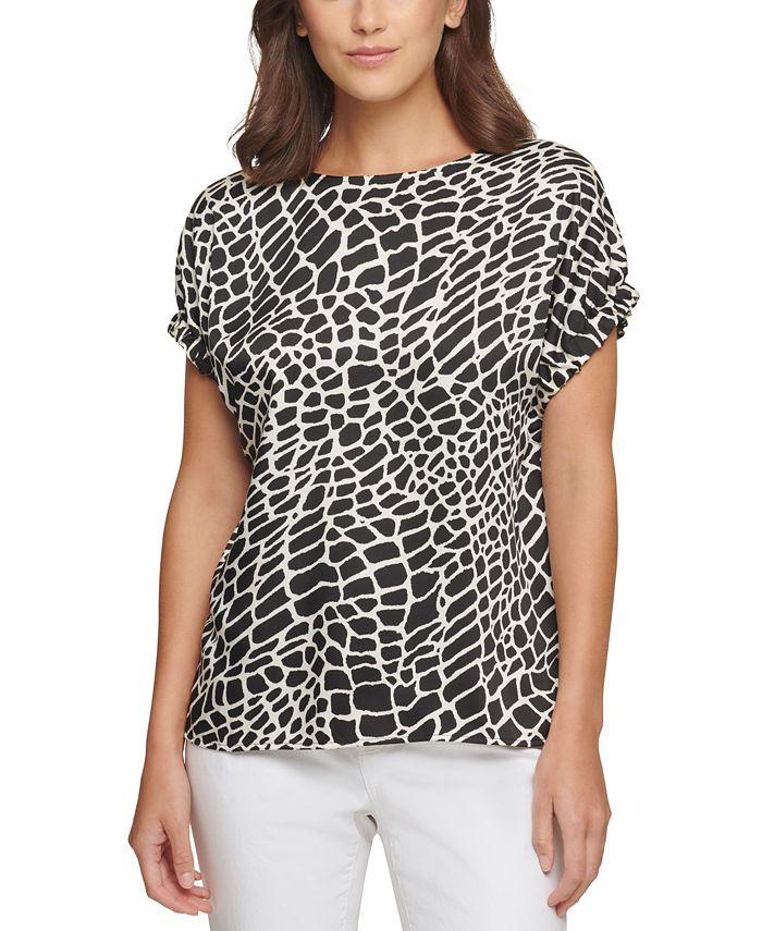 DKNY - Animal-Print Elastic-Sleeve Top