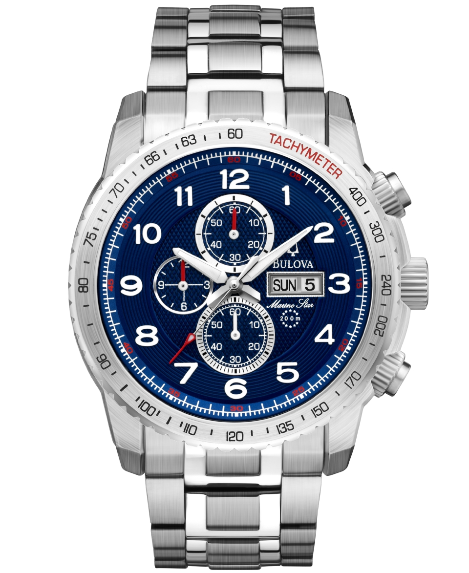 Bulova Mens Chronograph Marine Star Stainless Steel Bracelet Watch 47mm 96C121   Watches   Jewelry & Watches