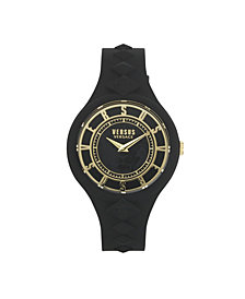 Versus by Versace Women's Fire Island Studs Black Silicone Strap Watch 39mm