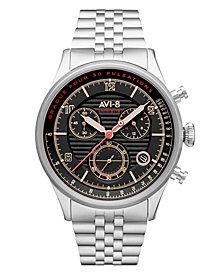 AVI-8 Men's Flyboy Silver-Tone Solid Stainless Steel Bracelet Watch, 42mm
