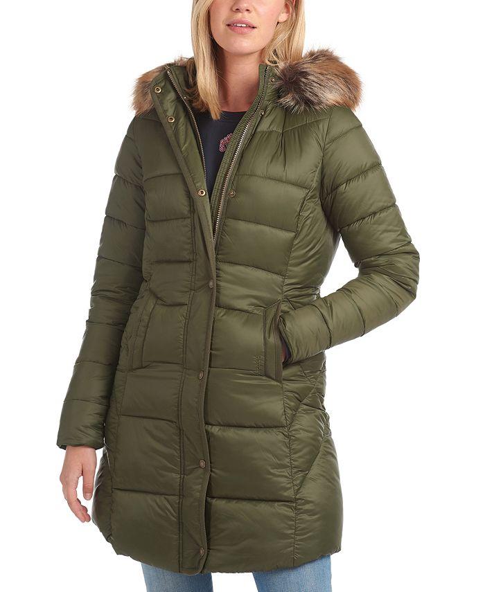 Barbour - Jamison Faux-Fur-Trim Hooded Puffer Coat