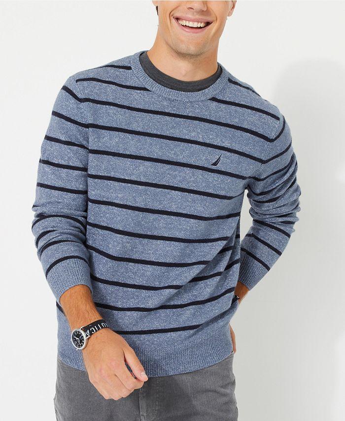 Nautica - Men's Sustainable Striped Crewneck Sweater