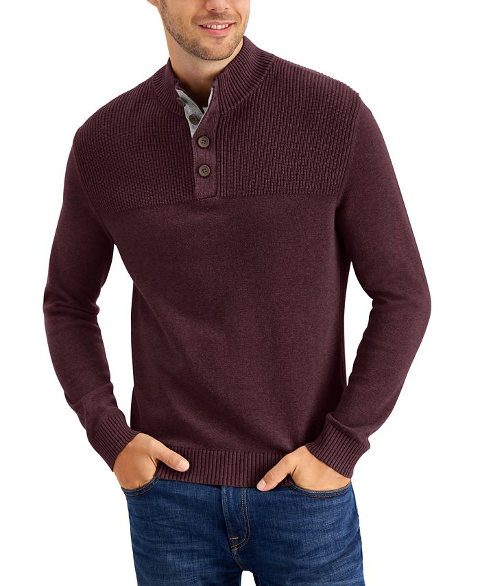Club Room - Men's Ribbed Four-Button Sweater
