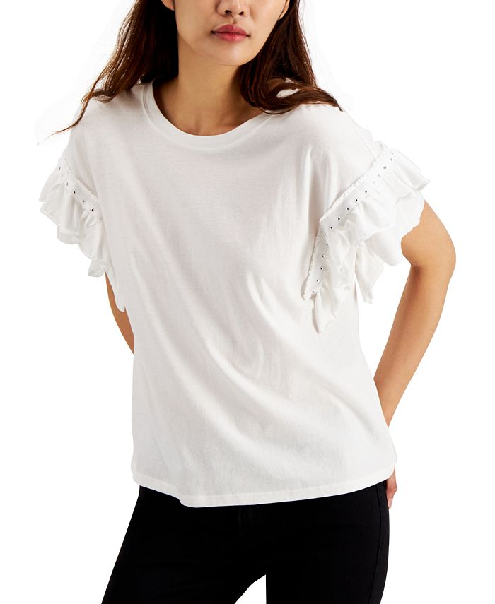 INC International Concepts - Cotton Stud-Detail Ruffle-Sleeve Top