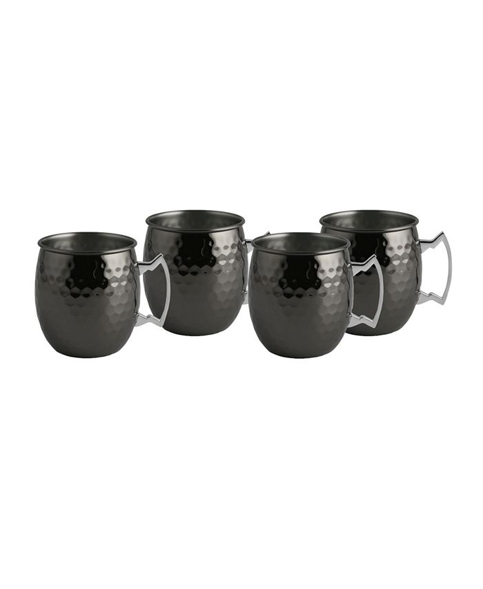 Thirstystone - Faceted Metallic Black Moscow Mule Mugs, Set of 4
