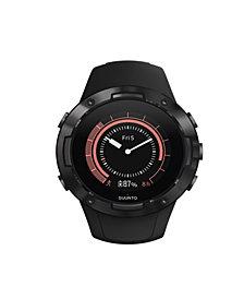 Suunto 5 Men's All Black Silicon Strap Compact GPS Sports Watch, 46mm