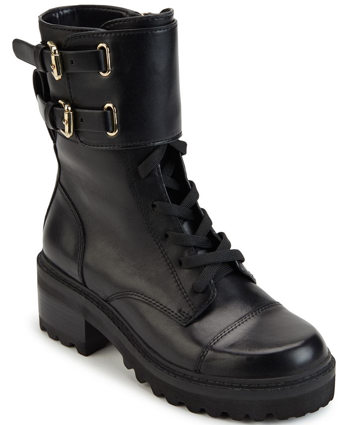 DKNY - Women's Bart Lace-Up Buckled Booties