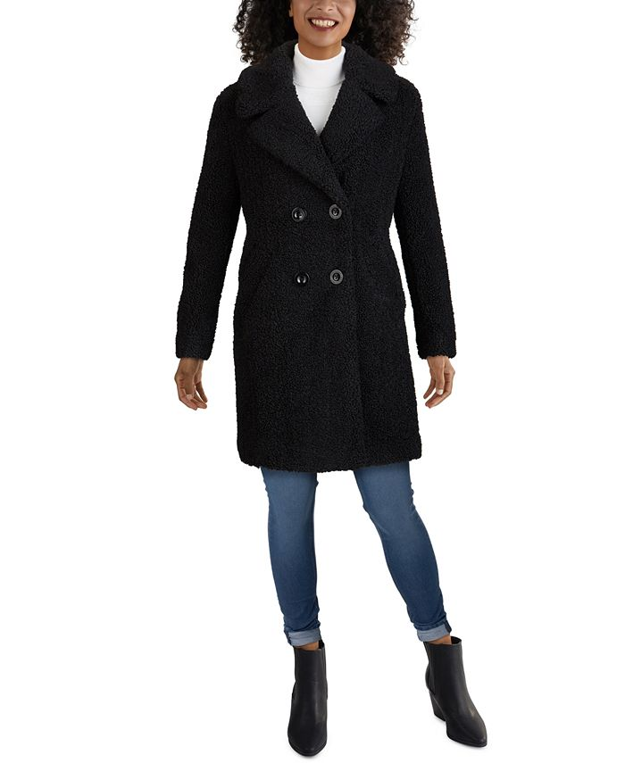Kenneth Cole - Double-Breasted Faux-Fur Coat