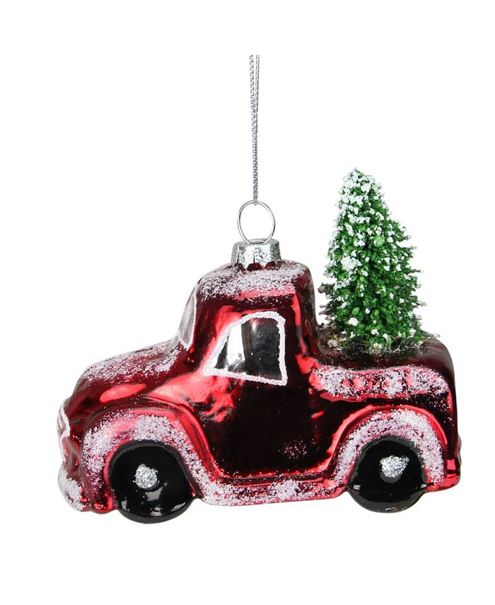 Northlight Frosted Shiny Pickup Truck With Tree Flocked Glass Christmas Ornament Reviews Shop All Holiday Home Macy S